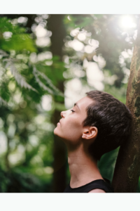 Woman being calm in nature