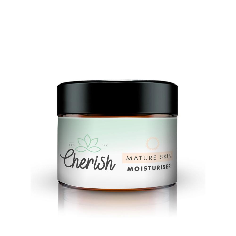 Glass jar of natural daily moisturiser for mature skin 50ml