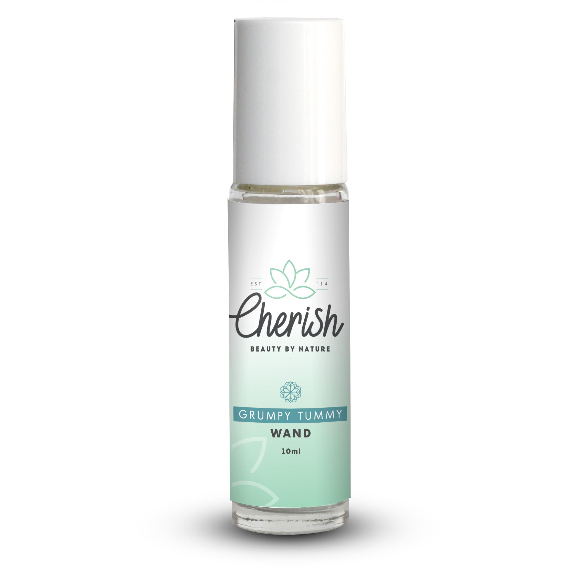 cherish beauty grumpy tummy aromatherapy roller 10ml glass wand
